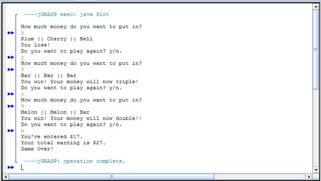 Java Slot Machine Simulation